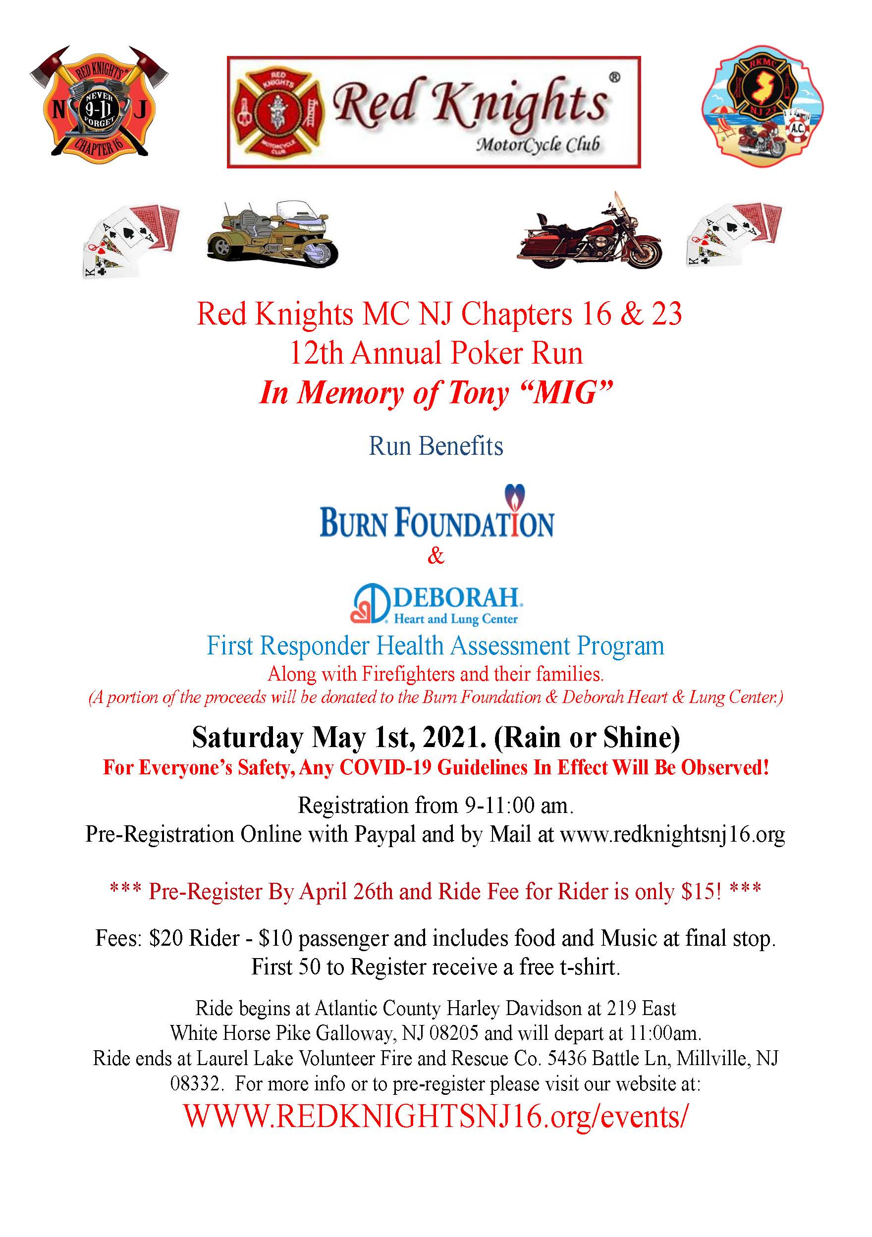 "12th poker run flyerb - Red Knights MC NJ Chapters 16 & 23 12th Annual Poker Run In Memory of Tony ""Mig"""