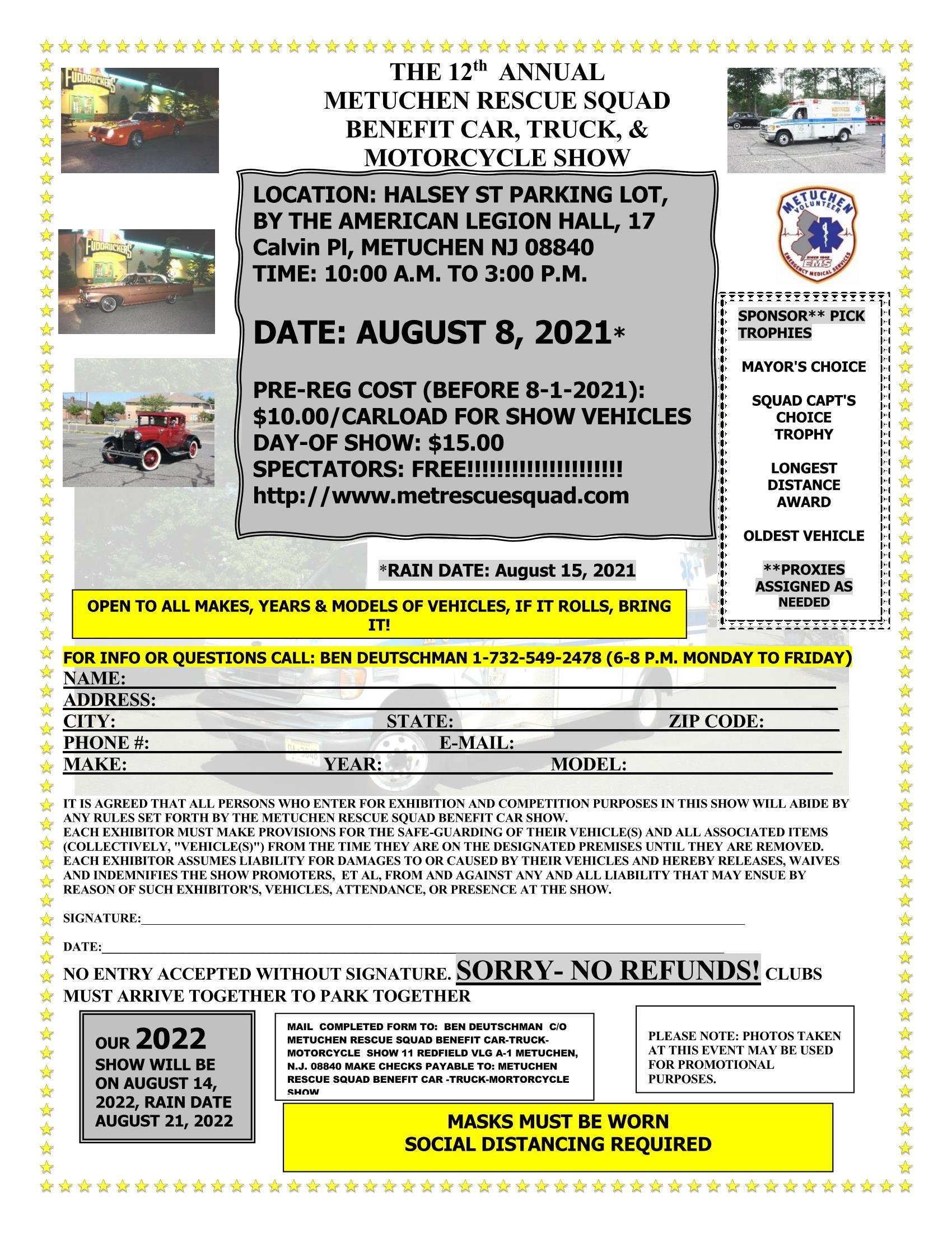 2021SHOWFlyer 2WithEMSLogo HalseyStreetParkingLot Mask SocialDistancingAdded 1 - Metuchen Rescue Squad Benefit Car-Truck-Motorcycle Show