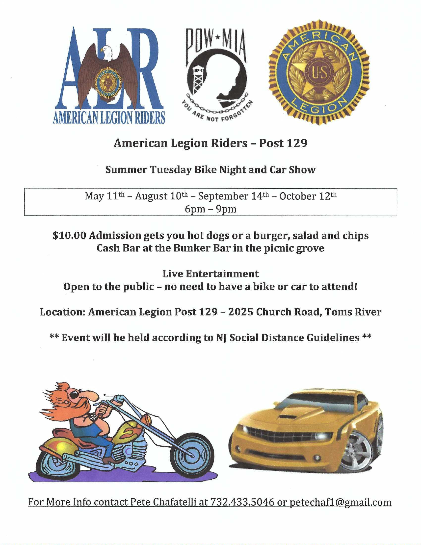ALR Summer Tue Bike Night - American Legion Riders Post 129 Summer Tuesday Bike Night and Car Show