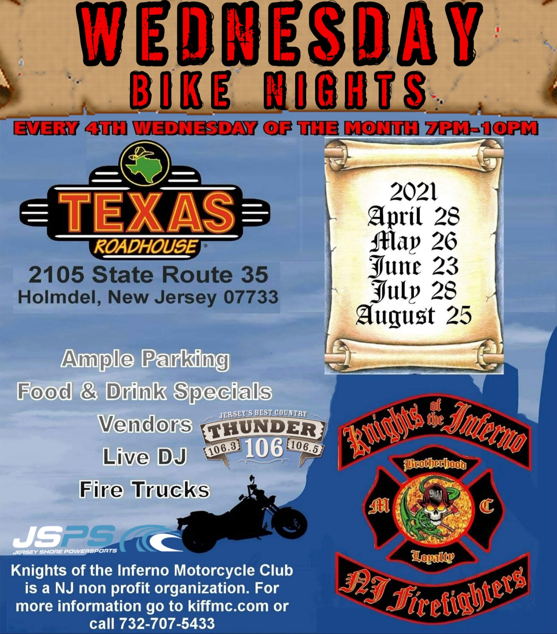 KOF Roadhouse - Knights of the Inferno Firefighter/Military Motorcycle Club of NJ  4th annual bike night series