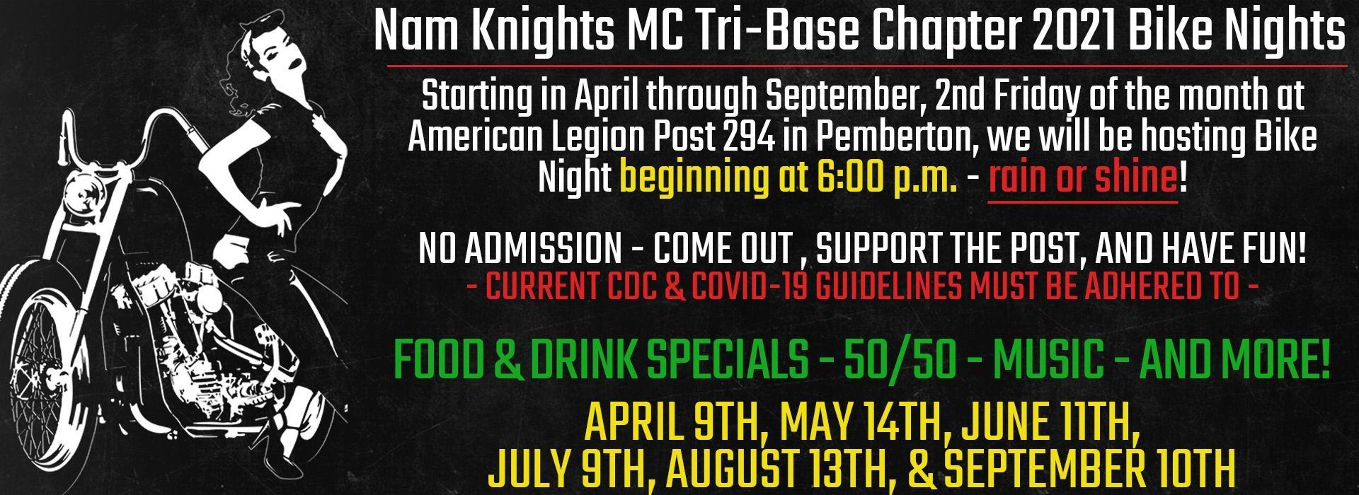 Nam Knights Tri Base Bike Knights - Nam Knights of America MC Club, Tri-Base Chapter Bike Night
