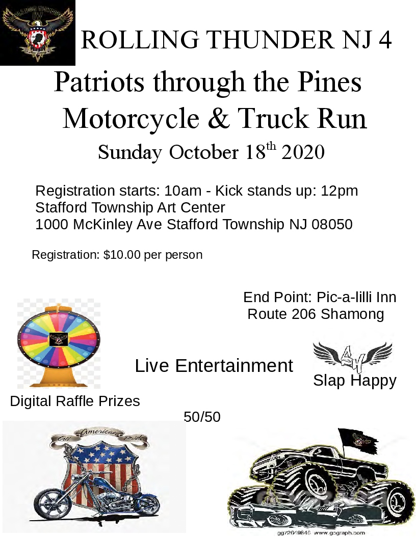 PTTP flyer - Patriots Through The Pines Motorcycle and Truck Run