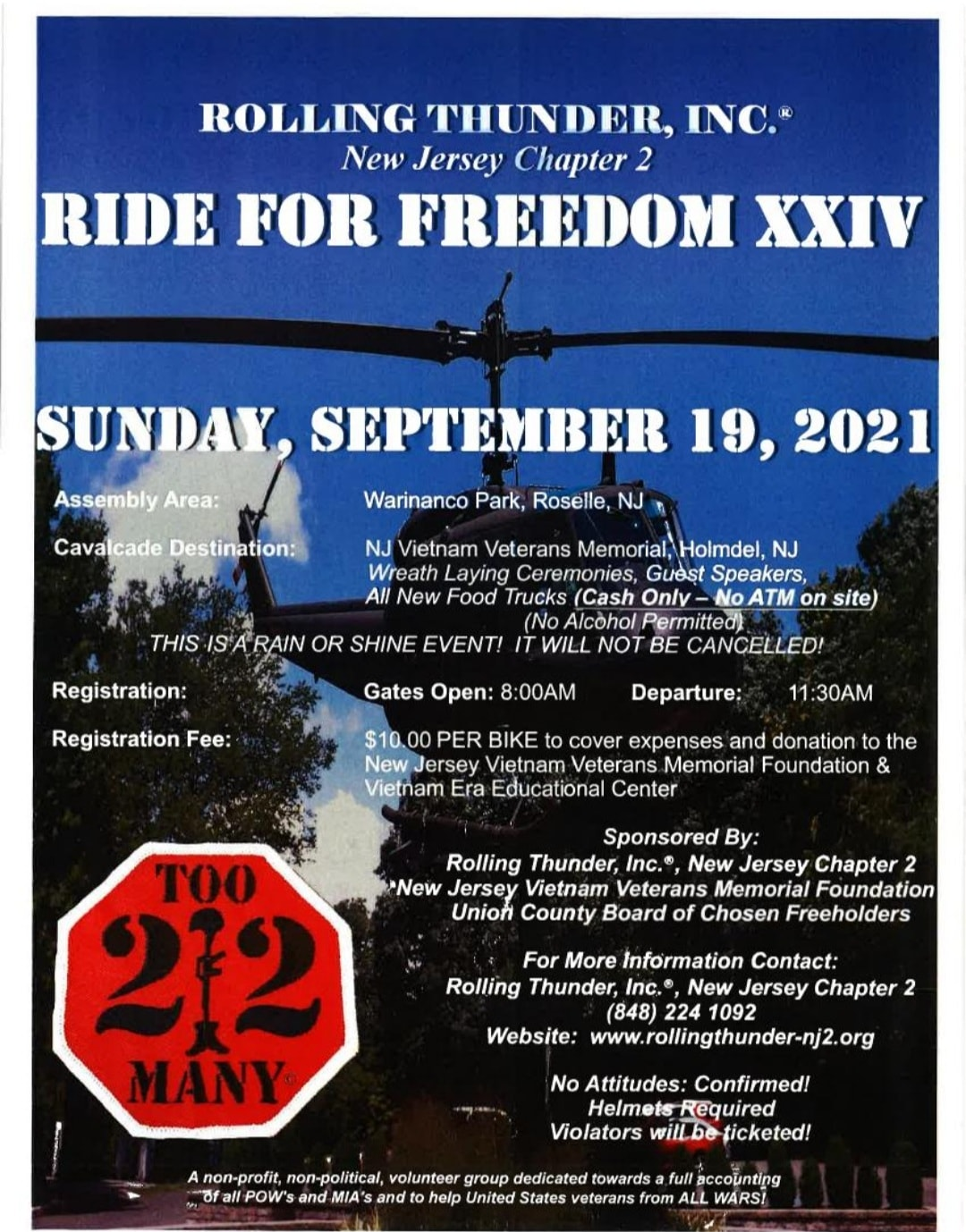 RIDE FOR FREEDOM 1 - Rolling Thunder NJ 2 Ride for Freedom XXIV